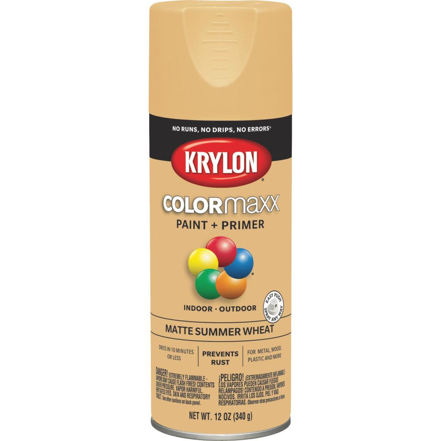 Krylon Colormaxx Matte Spray Paint & Primer, Summer Wheat Image 1