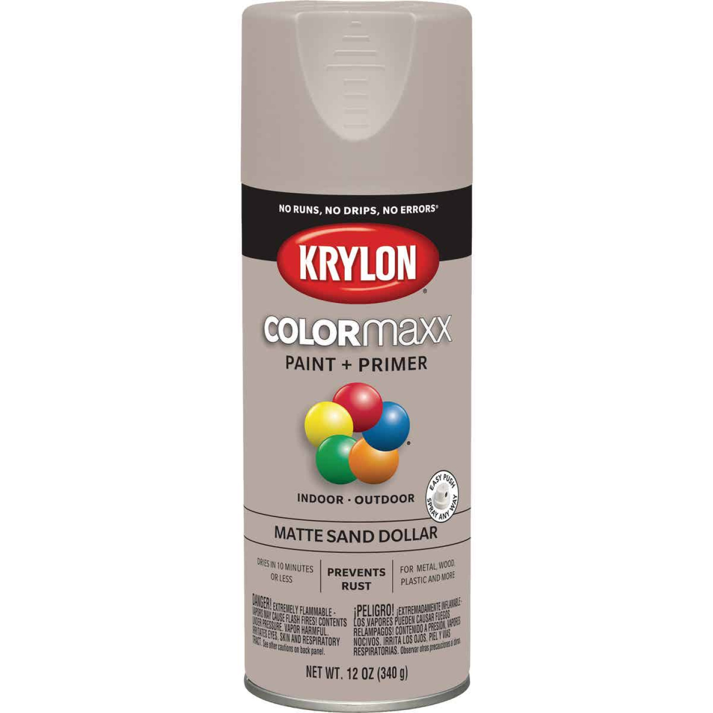 Krylon Colormaxx Matte Spray Paint & Primer, Sand Dollar Image 1