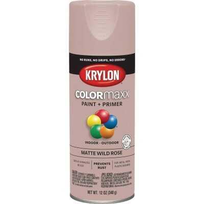 Krylon Colormaxx Matte Spray Paint & Primer, Wild Rose