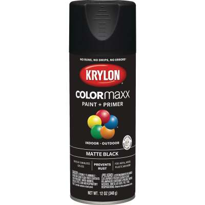 Krylon Colormaxx Matte Spray Paint & Primer, Black