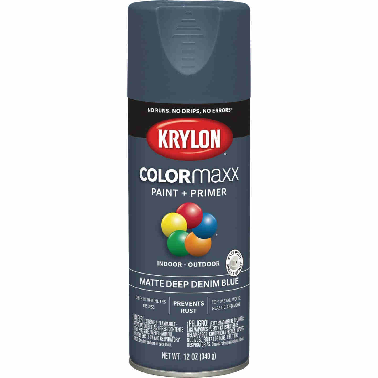 Krylon Colormaxx Matte Spray Paint & Primer, Denim Blue Image 1
