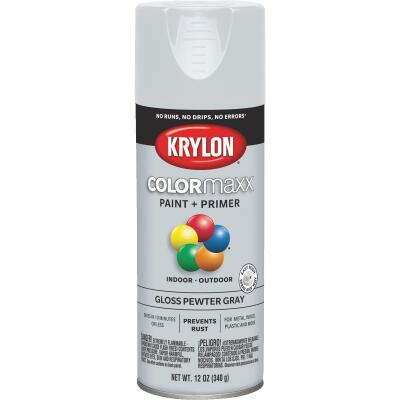Krylon ColorMaxx 12 Oz. Gloss Spray Paint, Pewter Gray