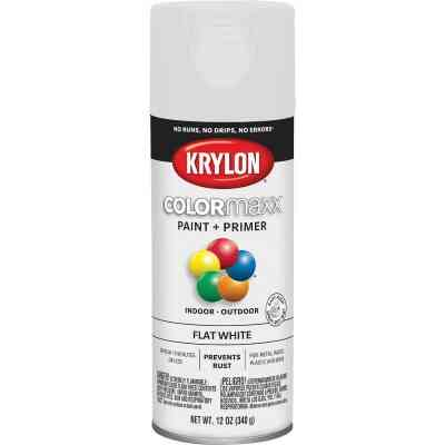 Krylon ColorMaxx 12 Oz. Flat Spray Paint, White