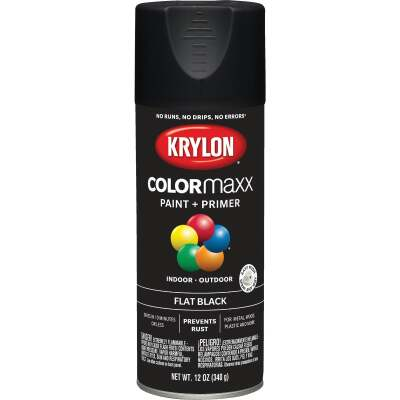 Krylon ColorMaxx 12 Oz. Flat Spray Paint, Black