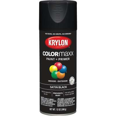 Krylon ColorMaxx12 Oz. Satin Spray Paint, Black