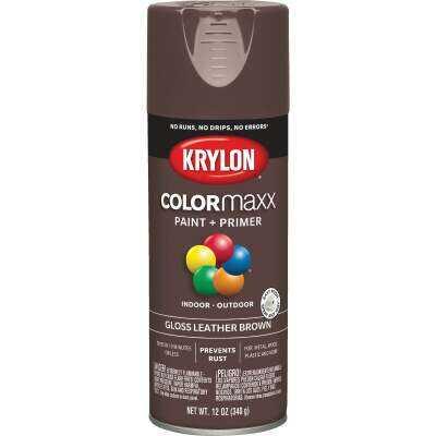 Krylon ColorMaxx 12 Oz. Gloss Spray Paint, Leather Brown