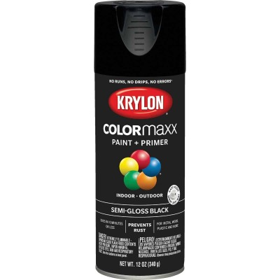 Krylon ColorMaxx 12 Oz. Semi-Gloss Spray Paint, Black