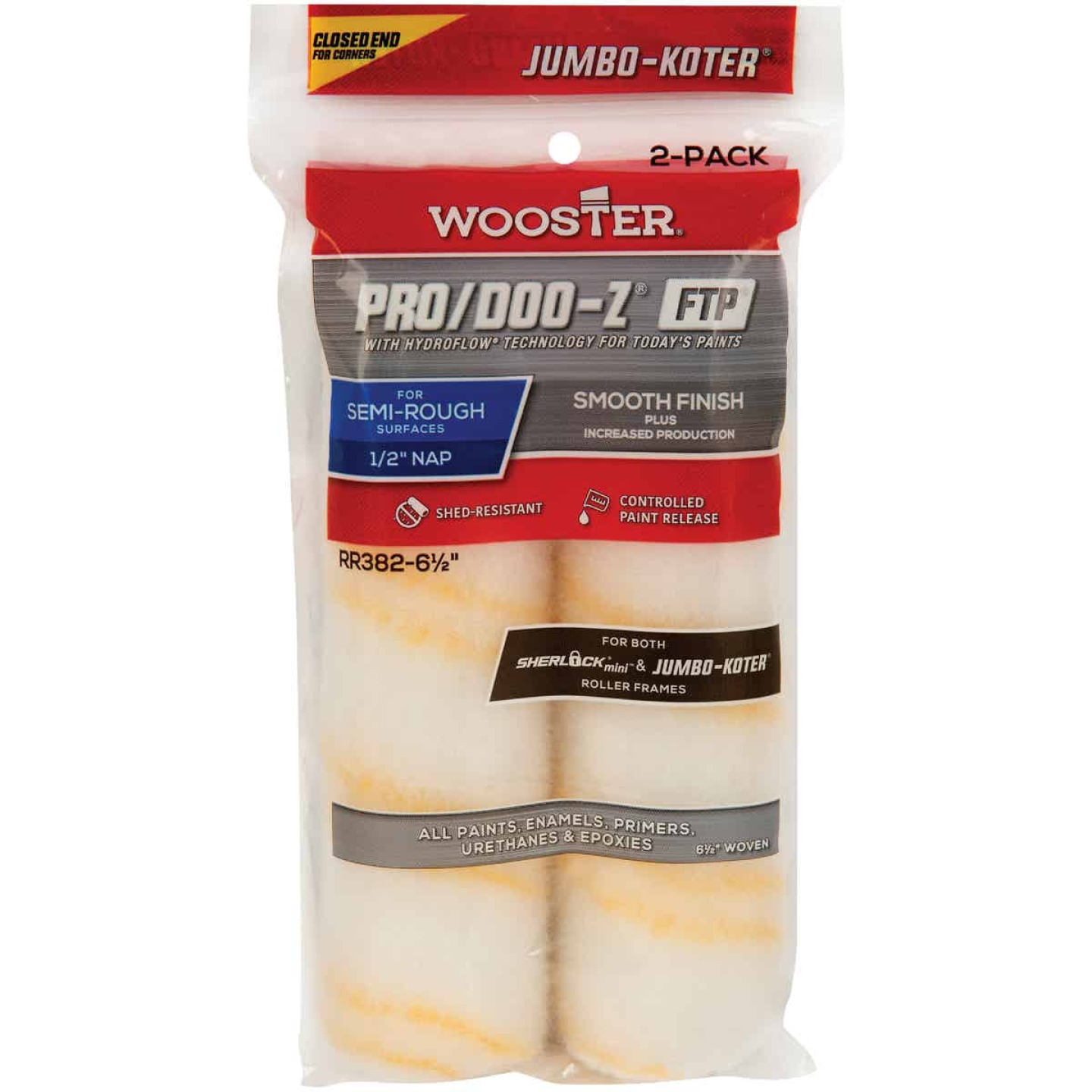 Wooster Jumbo-Koter P/D FTP 6-1/2 In. x 1/2 In. Woven Paint Roller Cover (2 Pack) Image 1