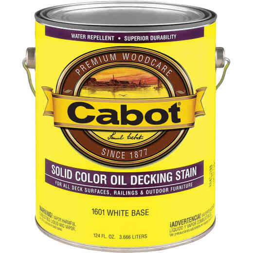 Cabot Solid Color Oil Deck Stain, White Base, 1 Gal.