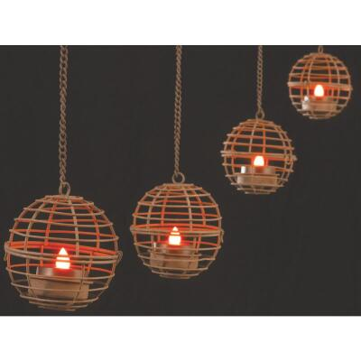 Gerson 4-Light Brown Wire Hanging Fireball Patio Light Set (4-Pack)