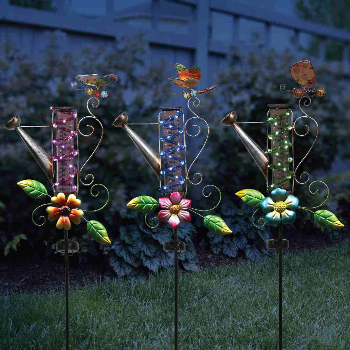 Alpine Solaris Metal, Plastic, & Glass Rain Gauge 39 In. H. Solar Stake Light Image 2