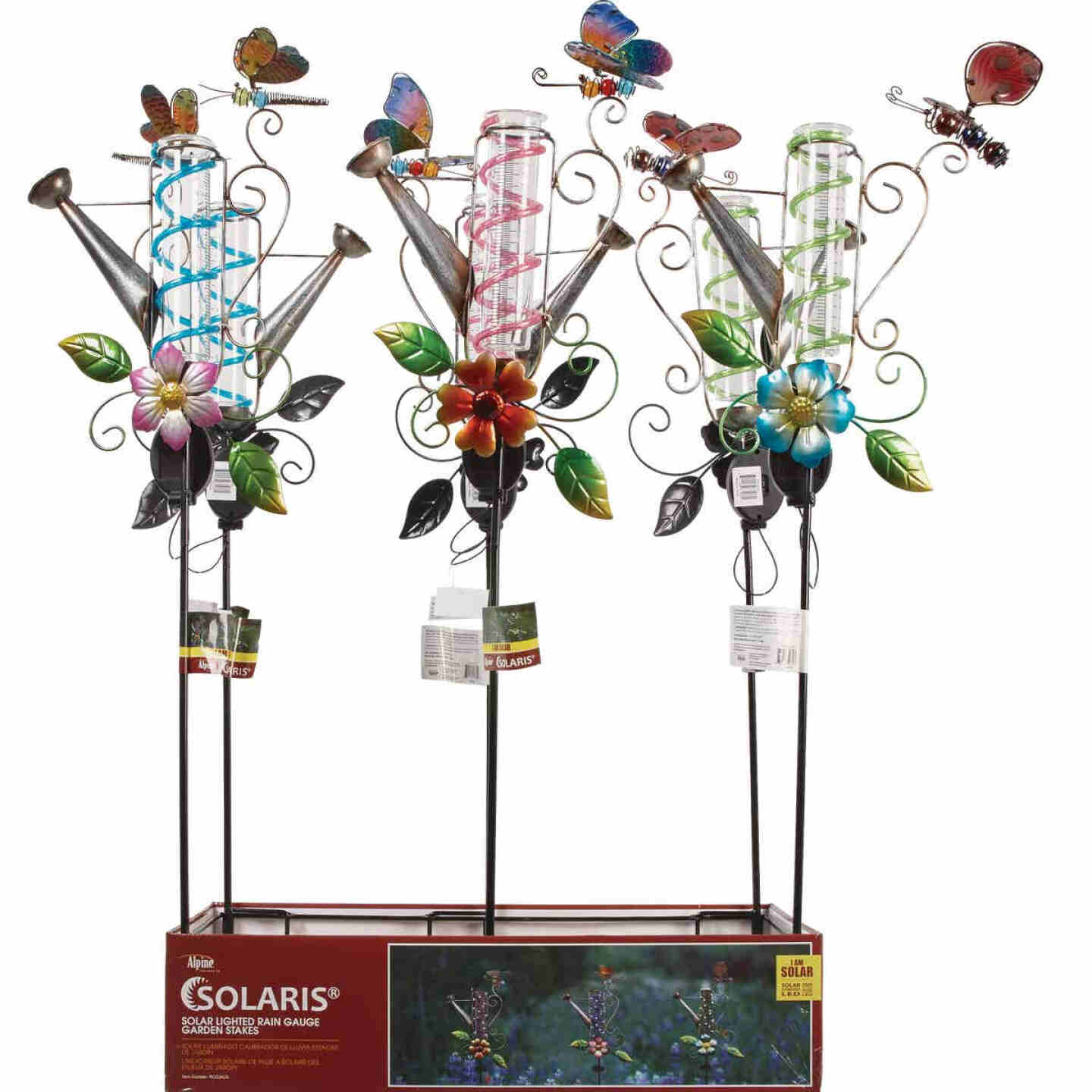 Alpine Solaris Metal, Plastic, & Glass Rain Gauge 39 In. H. Solar Stake Light Image 3
