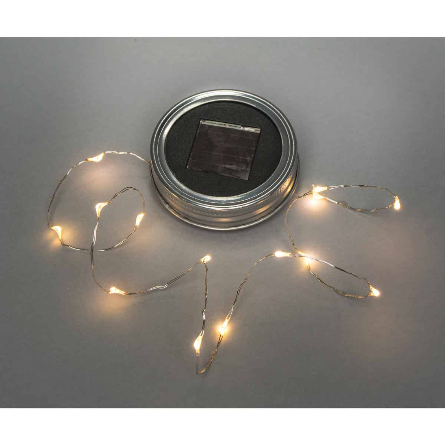 Everlasting Glow Warm White Bulb Metal Solar Mason Jar Lid with String Lights Image 1