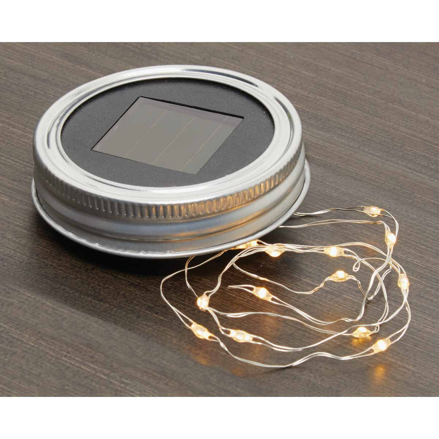Everlasting Glow Warm White Bulb Metal Solar Mason Jar Lid with String Lights Image 3