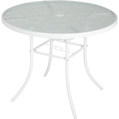 Outdoor Expressions 35 In. Round White Steel Table