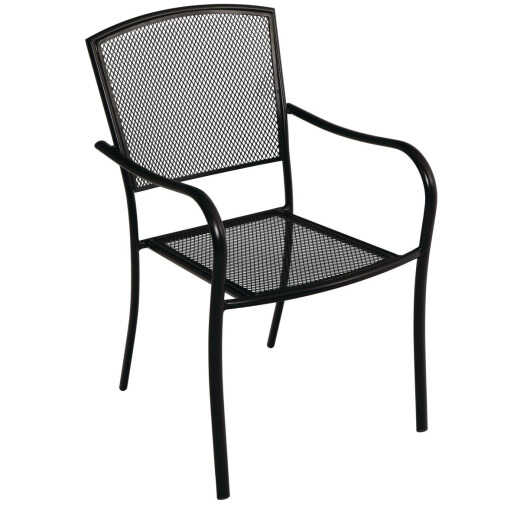 Outdoor Expressions 34 In. H. x 22 In. W. x 25 In. D. Black Steel Stackable Mesh Chair