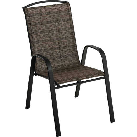 Outdoor Expressions Windsor Collection Black Steel Sling Stacking Chair