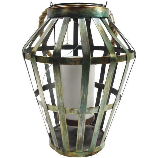 Alpine 7 In. W. x 19 In. H. x 7 In. L. Gray Iron Flickering LED Solar Patio Lantern
