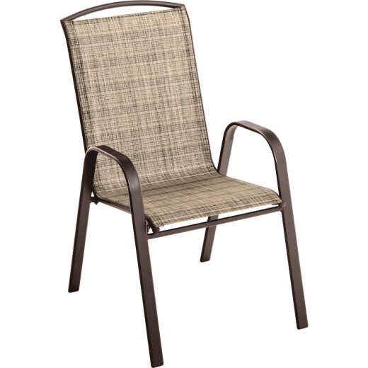 Outdoor Expressions Windsor Collection Brown Steel Sling Stacking Chair