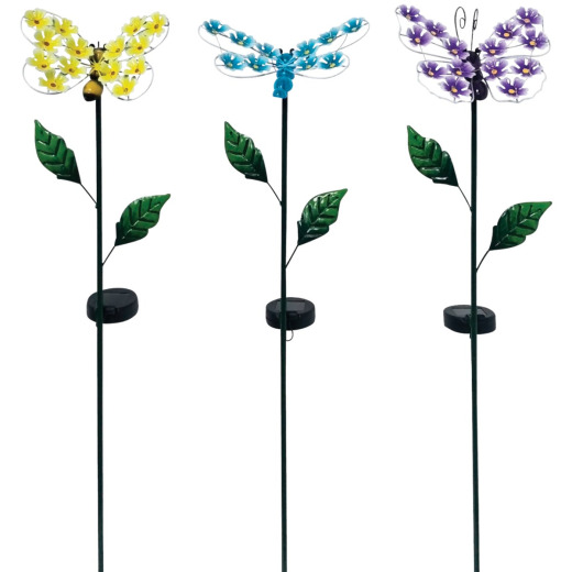 Alpine Metal 33 In. H. Insect with Hydrangea Wings Solar Stake Light