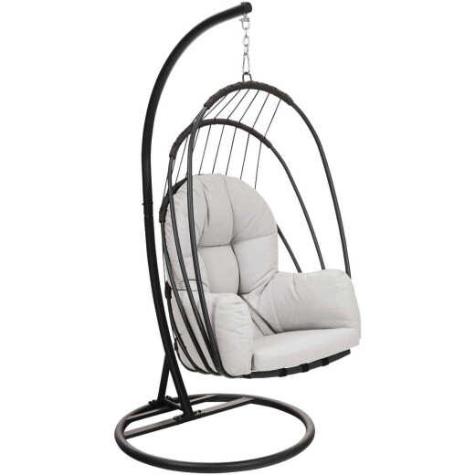 Outdoor Expressions Gray Hanging Egg Chair