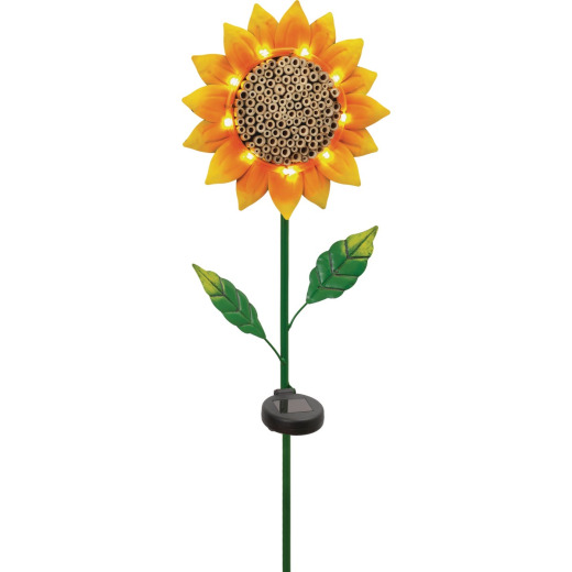 Mission Gallery Lighted Metal Sunflower Insect House 32 In. Solar Stake Light