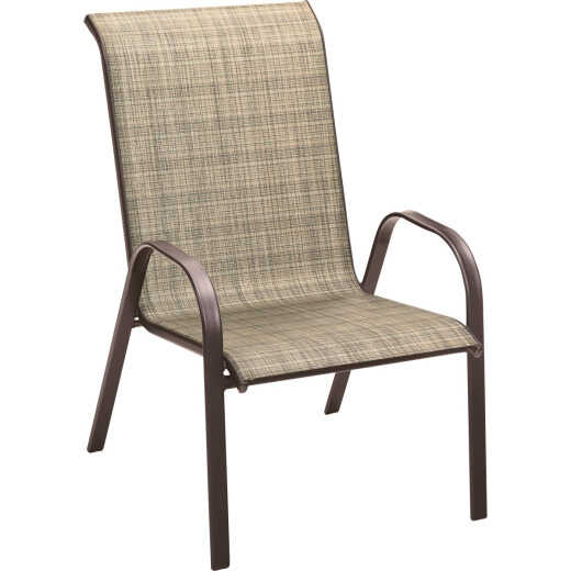 Outdoor Expressions Windsor Collection Brown Steel Sling Oversized Stacking Chair