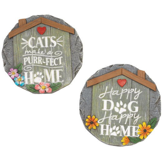 Mission Gallery 10 In. Cement Dog or Cat Stepping Stone Lawn Ornament